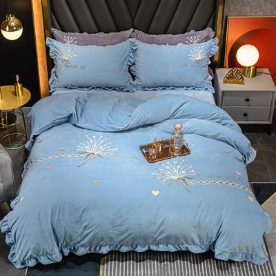 2020新款婴儿绒立体彩绣四件套-欧蒂亚 1.5m床单款四件套 欧蒂亚-月光蓝 106