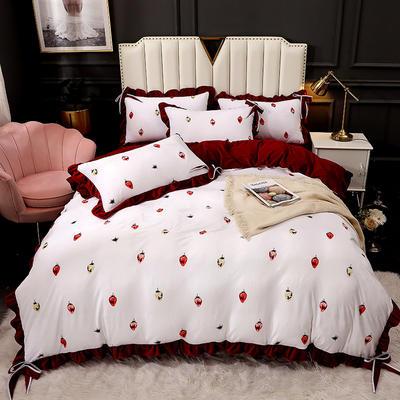 2020新款蝴蝶结款水晶绒保暖床盖款四件套 1.8m床盖款四件套 缤纷草莓