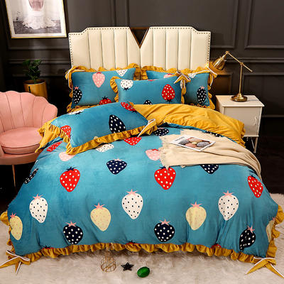 2020新款蝴蝶结款水晶绒保暖床盖款四件套 1.8m床盖款四件套 草莓情缘-浅蓝