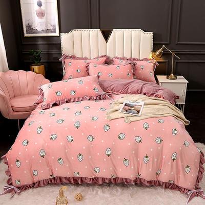 2020新款蝴蝶结款水晶绒保暖床盖款四件套 1.8m床盖款四件套 草莓糖心-粉玉
