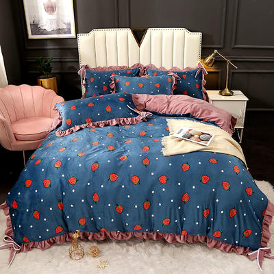 2020新款蝴蝶结款水晶绒保暖床盖款四件套 1.8m床盖款四件套 草莓糖心-蓝