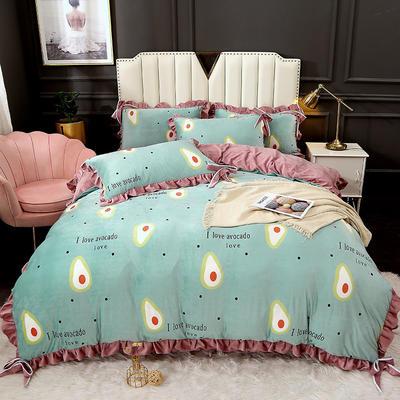 2020新款蝴蝶结款水晶绒保暖床盖款四件套 1.8m床盖款四件套 牛油果