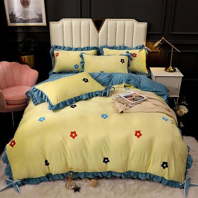 2020新款蝴蝶结款水晶绒保暖床盖款四件套 1.8m床盖款四件套 青春物语-黄