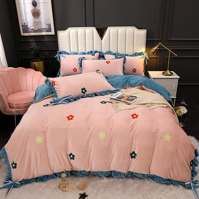 2020新款蝴蝶结款水晶绒保暖床盖款四件套 1.8m床盖款四件套 青春物语-玉
