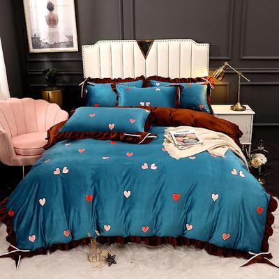 2020新款蝴蝶结款水晶绒保暖床盖款四件套 1.8m床盖款四件套 小心心-蓝