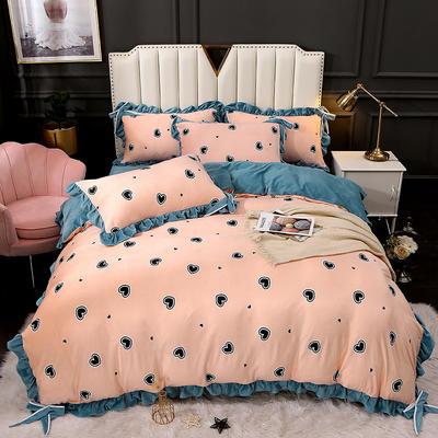 2020新款蝴蝶结款水晶绒保暖床盖款四件套 1.8m床盖款四件套 小心心-玉