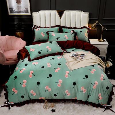 2020新款蝴蝶结款水晶绒保暖床盖款四件套 1.8m床盖款四件套 樱桃之恋