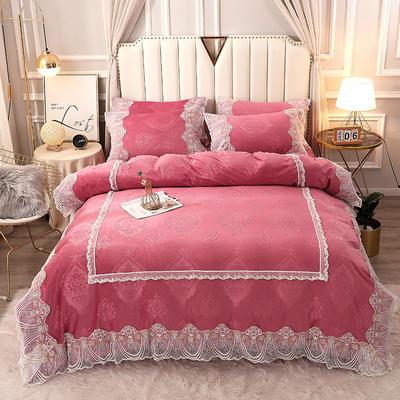2020新款蕾丝款水晶绒压花床盖款四件套 1.8m床盖款四件套 蕾丝款-豆沙
