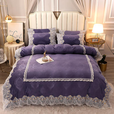 2020新款蕾丝款水晶绒压花床盖款四件套 1.8m床盖款四件套 蕾丝款-魅力紫