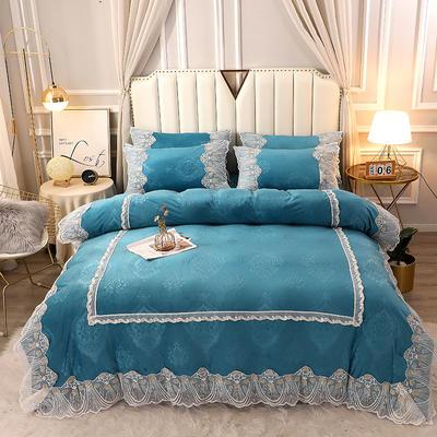 2020新款蕾丝款水晶绒压花床盖款四件套 1.8m床盖款四件套 蕾丝款-墨绿