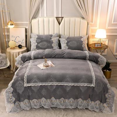 2020新款蕾丝款水晶绒压花床盖款四件套 1.8m床盖款四件套 蕾丝款-时尚灰