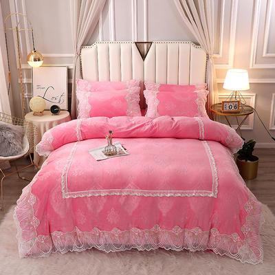 2020新款蕾丝款水晶绒压花床盖款四件套 1.8m床盖款四件套 蕾丝款-淑女粉