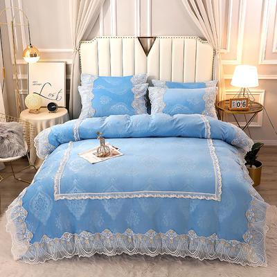 2020新款蕾丝款水晶绒压花床盖款四件套 1.8m床盖款四件套 蕾丝款-天空蓝