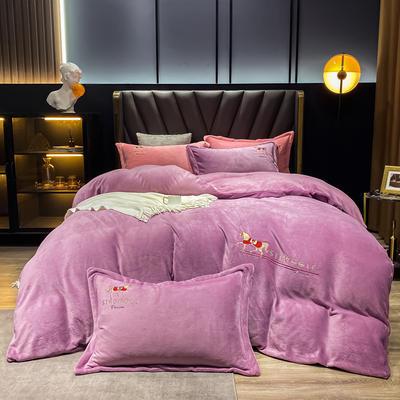 2020新款牛奶绒系列四件套-马 1.8m床裙款四件套 1309巴比伦-神秘紫