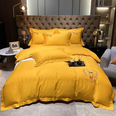 2021新款40S全棉刺绣四件套—慕梵 1.8m床单款四件套 姜黄