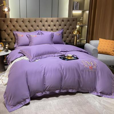 2021新款40S全棉刺绣四件套—慕梵 1.8m床单款四件套 神秘紫