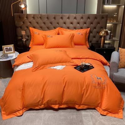 2021新款40S全棉刺绣四件套—慕梵 1.8m床单款四件套 活力橙