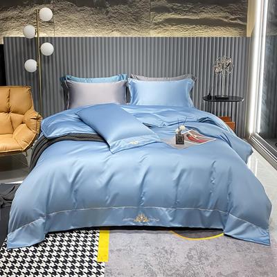 2021新款贡缎天丝刺绣四件套--布莱尼 1.8m(6英尺)床 布莱尼-钻石蓝