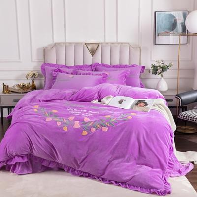 2020新款宝宝绒毛巾绣牛奶绒四件套—花样年华 1.5m床单款四件套 花样年华紫