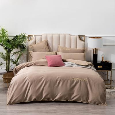 2019新款美好时光长绒棉绣花工艺款四件套 1.8m(6英尺)床单款 金棕色
