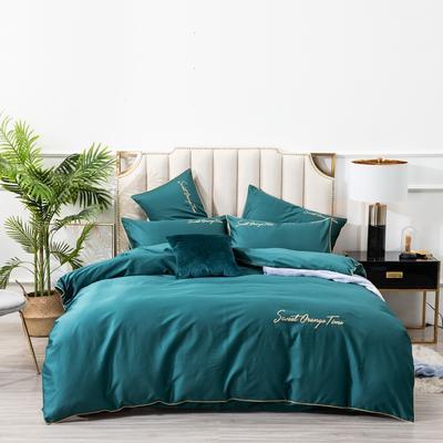2019新款美好时光长绒棉绣花工艺款四件套 1.8m(6英尺)床单款 墨绿