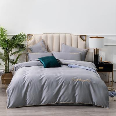 2019新款美好时光长绒棉绣花工艺款四件套 1.8m(6英尺)床单款 霜灰色