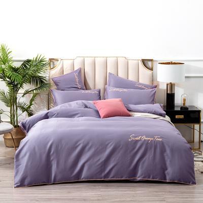 2019新款美好时光长绒棉绣花工艺款四件套 1.8m(6英尺)床单款 紫色