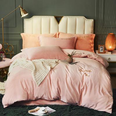 2020新款高密度牛奶绒四件套 1.8m床单款四件套 雏菊-香紫