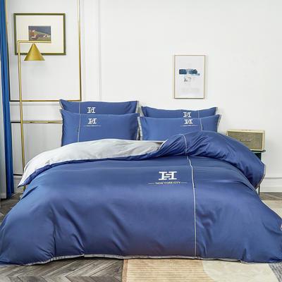 2020新款60长绒棉刺绣款克莱欧系列四件套(H款) 1.8m床单款四件套 克莱欧-皇室蓝