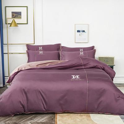 2020新款60长绒棉刺绣款克莱欧系列四件套(H款) 1.8m床单款四件套 克莱欧-西梅色