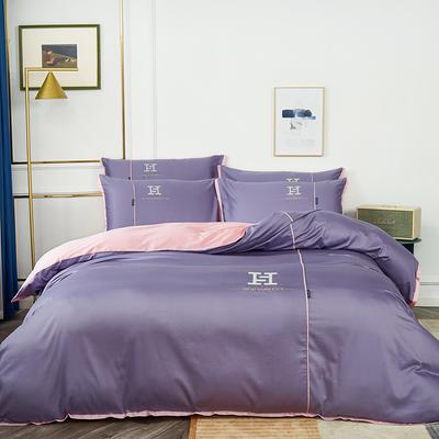 2020新款60长绒棉刺绣款克莱欧系列四件套(H款) 1.8m床单款四件套 克莱欧-紫色
