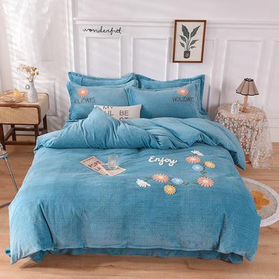 2020新款牛奶绒宝宝绒加厚四件套 1.8m床单款四件套 花儿朵朵-湖蓝