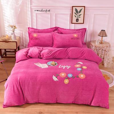 2020新款牛奶绒宝宝绒加厚四件套 1.8m床单款四件套 花儿朵朵-玫红