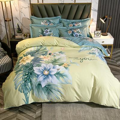 2021 全棉大版13372印花 四件套· 1.5m床单款四件套 苏禾-柠檬绿