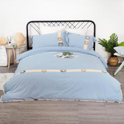 2019新款全棉四件套-花意 1.8m(6英尺)床(四件套) 月白蓝
