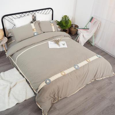 2019新款全棉四件套-花意 1.8m(6英尺)床(四件套) 利休茶