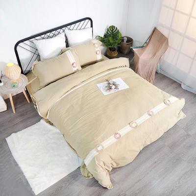 2019新款全棉四件套-花意 1.8m(6英尺)床(四件套) 亚麻黄