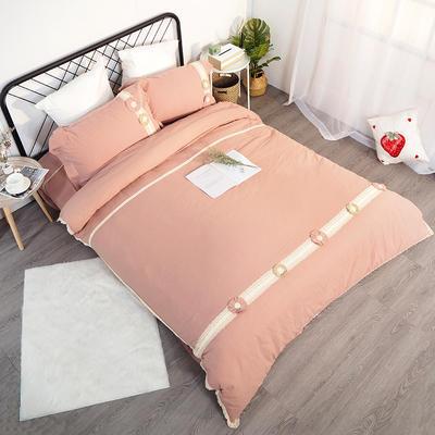 2019新款全棉四件套-花意 1.8m(6英尺)床(四件套) 月樱粉