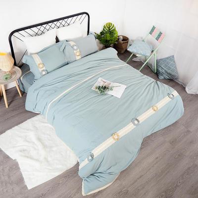 2019新款全棉四件套-花意 1.8m(6英尺)床(四件套) 雾霾蓝