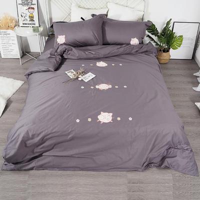 2019年新款全棉贴布绣四件套-小飞猪 1.2m床单款三件套 薄墨灰