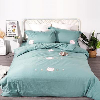2019年新款全棉贴布绣四件套-小飞猪 1.35m床单款三件套 海藻绿
