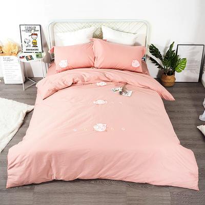 2019年新款全棉貼布繡四件套-小飛豬 1.35m床單款三件套 蜜桃粉