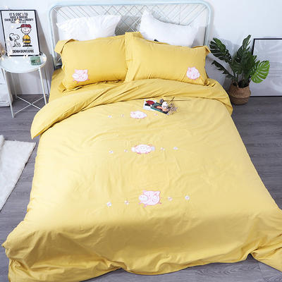 2019年新款全棉贴布绣四件套-小飞猪 1.2m床单款三件套 明亮黄