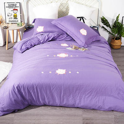 2019年新款全棉贴布绣四件套-小飞猪 1.35m床单款三件套 神秘紫