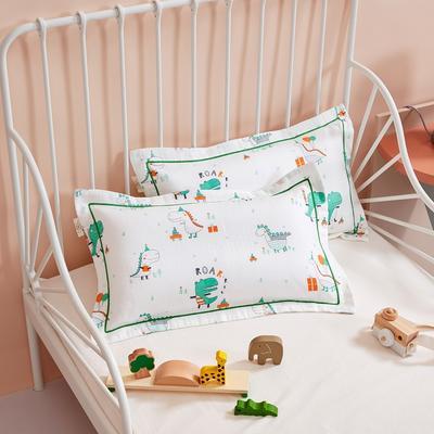 2020新款舒眠系列-双层纱儿童枕套 30cmX50cm 亲亲恐龙