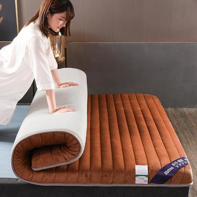 2019新款寶寶絨乳膠床墊單邊雙邊 90x200cm 咖色(厚度6cm)