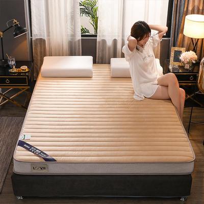 2019新款寶寶絨乳膠床墊單邊雙邊 90x200cm 米黃(厚度10cm)