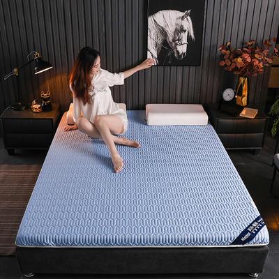 2020新款凉感丝乳胶记忆海棉床垫专业定做各种尺寸 90*190cm 单边凉感-蓝6cm