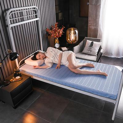 2020新款学生款凉感丝乳胶记忆海绵床垫专业定做 90*190cm单边6cm 凉感-蓝