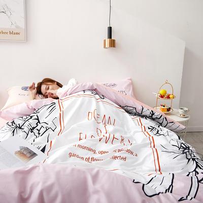 2019新款大版花型全棉四件套 1.2m(4英尺)床 粉红回忆